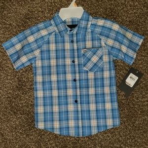 HURLEY BOYS PLAID BUTTON FRONT